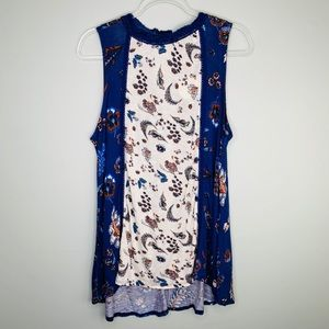 RXB Shirt Large Floral Sleeveless Tunic Keyhole